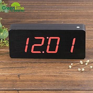 pengweiGente perezosa LLEVÓ el reloj de escritorio creativo Reloj sobremesa de madera verde luminoso verde despertador , white: Amazon.es: Hogar