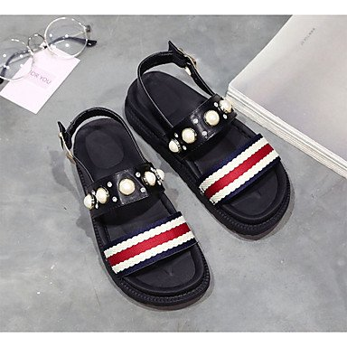 Flat Flat Comfort White Casual Summer Pu Women'S Sandals Black Imitation Pearl RTRY Heel CN39 UK6 US8 EU39 qwp4871nx