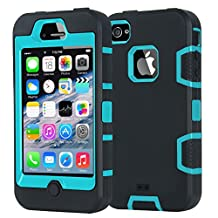 Case for iPhone 4 Phone Cases iPhone 4S Silicone iDoer Shockproof drop proof Protective Shell Soft Hard Cover for Apple iPhone 4 4S Black Blue