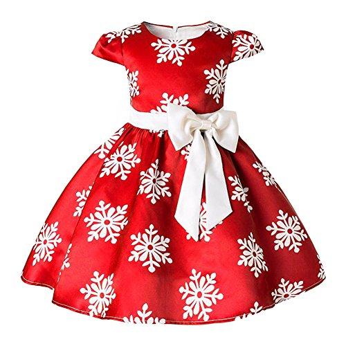 (Toddler Infant Baby Children Halloween Christmas Dress Girls Costume Cotton Princess Cinderella Party Dress Flower Girls Dresses for Weddings Christening Baptism Holy Communion Red Snowflake 5-6)