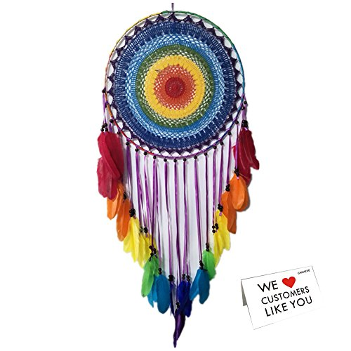 """CHICIEVE Large Dream Catchers, Bohemian Natural Colourful Decor Hanging Big Dream Catcher for Bedroom Wedding Party Ornaments- 15.7"""" Diameter - 47.2"""" Length"""