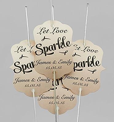 80 x personalizable (let Love leska hamaty) diseño con texto en inglés bengala etiquetas para - (coral) incluye grandes de oro bengalas 80 x 45,72 cm: Amazon.es: Hogar