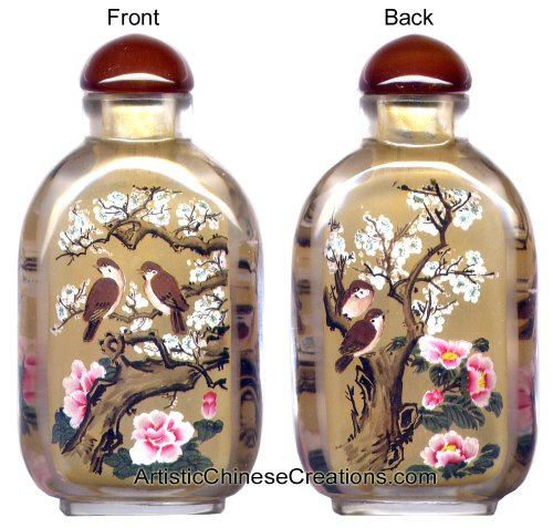 Chinese Collectibles / Chinese Inside Painted Snuff Bottle - Happy Couple / Birds & Flowers