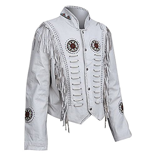 (Classyak Women Western Leather Jacket, Fringed & Bones, a Grade Suede Leather (XX-Large))