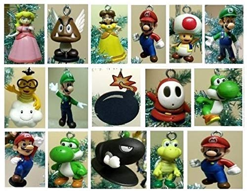 Super Mario Brothers 19 Piece Deluxe Random Holiday Christmas Tree Ornament Set Featuring Mario and Random Friends -