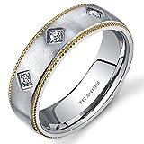 Mill grain Style Titanium 3 Stone Mens Yellow Tone 8 mm Wedding Band Size 12