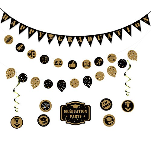 TINKSKY Happy Graduation Banner Garland Bunting Banner Party Decoration Kit Wall Stickers Hanging Swirl Decorations