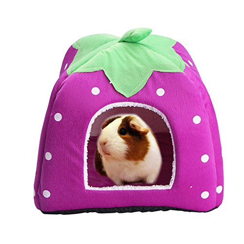 FLAdorepet Rabbit Guinea Pig Hamster House Bed Cute Small Animal Pet Winter Warm Squirrel Hedgehog Chinchilla House Cage Nest Hamster Accessories (9 9 10, Purple)