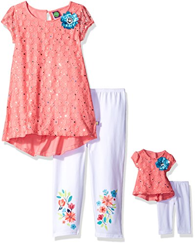 Dollie & Me Little Girls' Hi-Lo Tunic With Legging and Matching Doll Outfit, Coral/White, 6 (Dolly And Me Outfits For Girls)