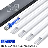 Tools & Hardware : Mini Wire Hider Wall, 157in Cable Cover, PVC Cable Concealer Channel, Paintable Cord Cover to Hide Speaker Wire, Ethernet Cable, CC05 White