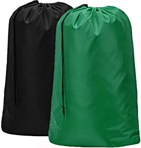 HOMEST 2 Pack Large Nylon Laundry Bag, Machine Washable Large Dirty Clothes Organizer, Easy Fit a Laundry Hamper or Basket, Can Carry Up to 4 Loads of Laundry, Black and Green