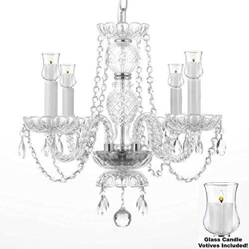 Crystal Chandelier Lighting Chandeliers W/Candle Votives H 17