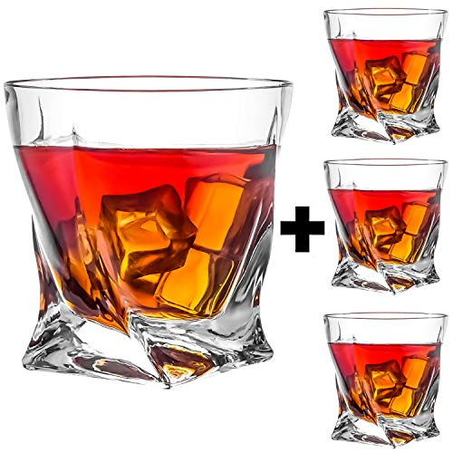 - KAOWOD Whiskey Glasses Set of 4, Twisted Tumblers for Drinking-Bourbon,Rum,Brandy,Cocktail,Liqueur and More, Scotch Glasses,Luxury Gift for Birthdays Fathers Day