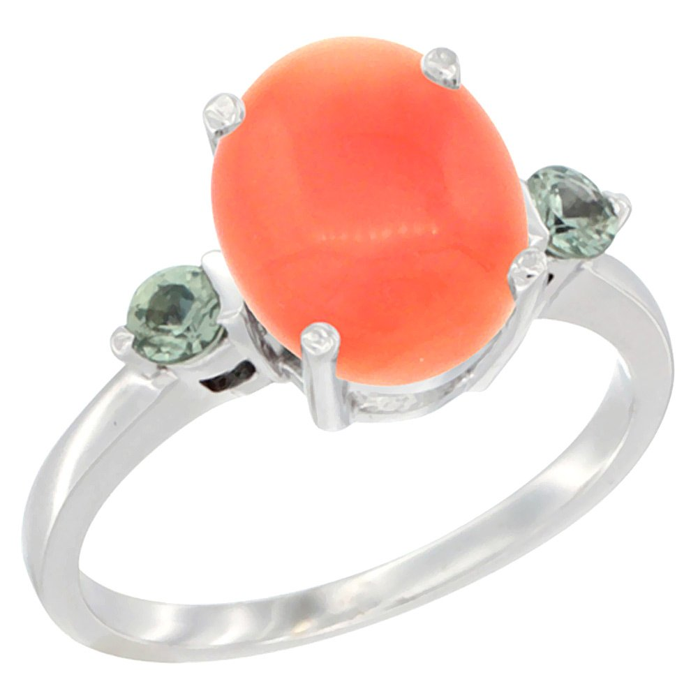 14K White Gold Natural Coral Ring Oval 10x8mm Green Sapphire Accent, size 7
