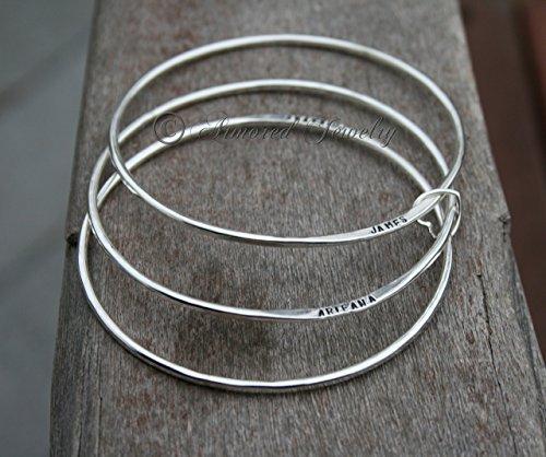 (Sterling Silver Personalized Bangle Bracelet - Custom Name Bracelet - Mommy Jewelry - Sets up to 10 - Mom Jewelry Bracelets Bangles Cuffs)