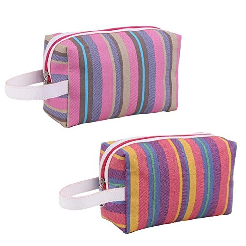 f5de8ed4dc7f Garrelett Travel Cosmetic Tote Bag Rainbow Stripes Zipper Wash ...