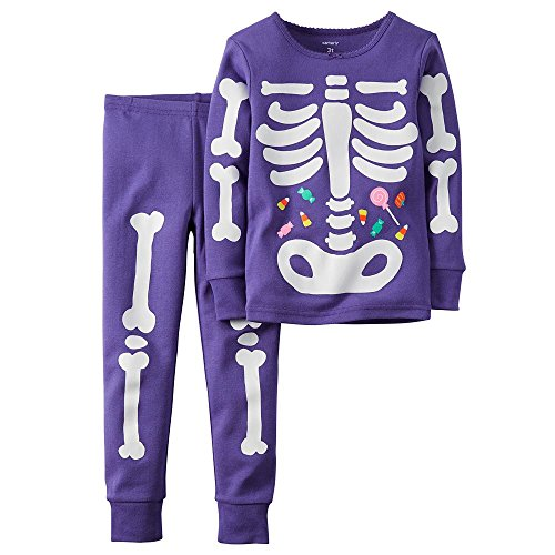 Carters Girl 2-Piece Glow-In-The-Dark Cotton PJs Set (10) (Glow In The Dark Skeleton Suit)