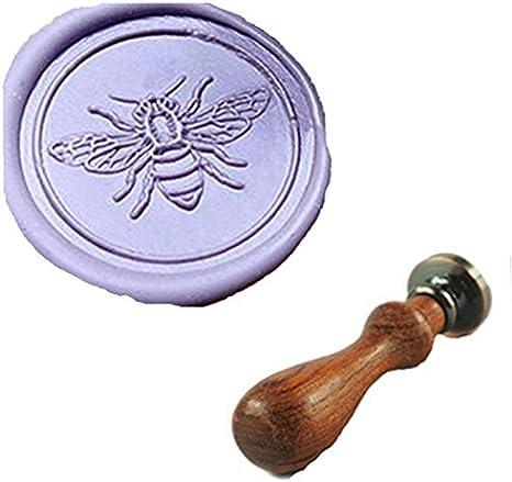 con sigillo di cera con manico di palissandro con monogramma personalizzata con foto di matrimonio invito MDLG motivo: api su fiori Vintage