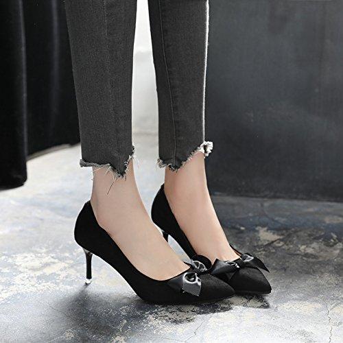 Talón Mujeres Zapatos Mujer Negro Zapatos De Con Solo Zapatos GAOLIM Verano Zapatos Punta Pajarita Primavera Fina Alto Negro De aqnw6IY