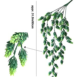 """Aisamco 3 Pcs Artificial Hops Flower Vine Garland Plant Fake Hanging Vine Hops Faux Hops Artificial Hanging Plants in Frosted Green 29.5"""" in Length for Indoor Outdoor Front Porch Flower Decor 2"""