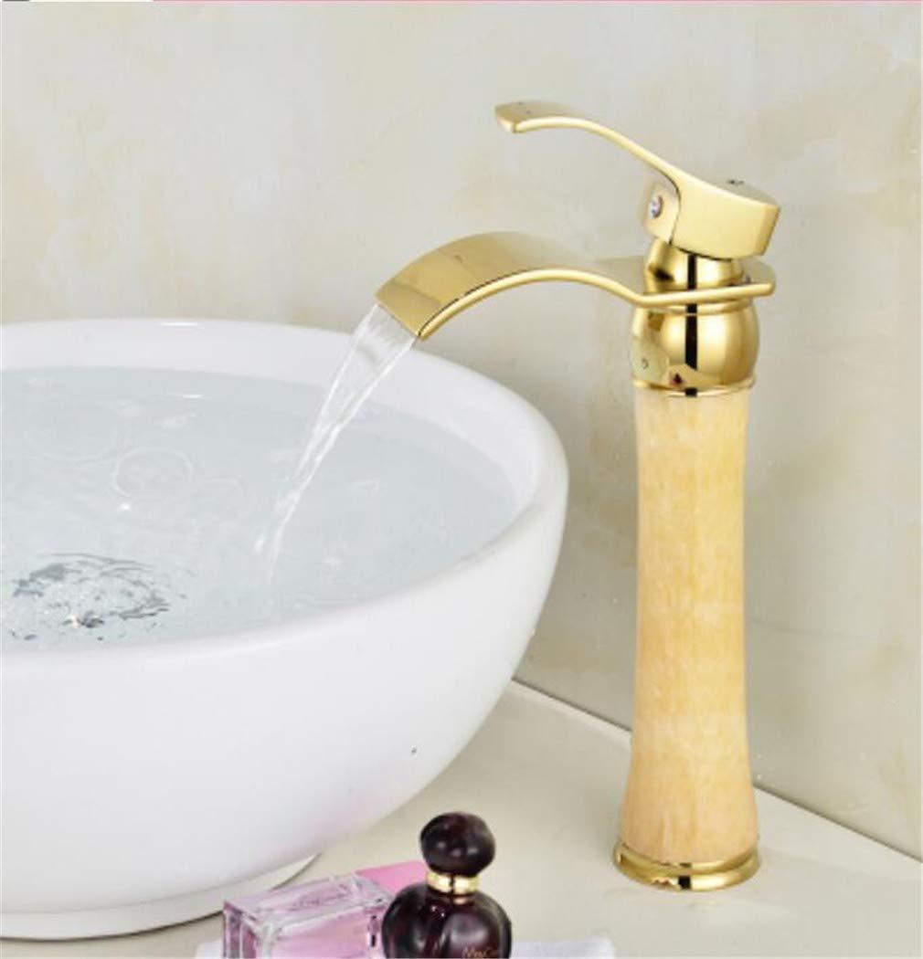 Gold Bad Wasserhahn heiß und kalt Kran Messing und Jade Becken Wasserhahn Wasserfall Wasserhahn Waschbecken Wasserhahn Einhand-Wasserhahn