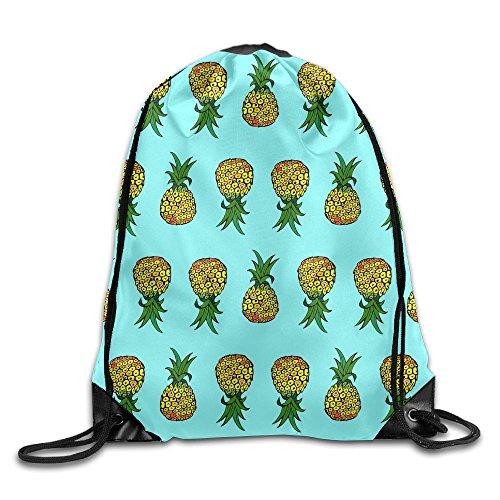 Pineapple On Light Turquoise Drawstring Bags Portable Backpack Travel Sport Gym Bag Yoga Runner Daypack Shoe Bags ()