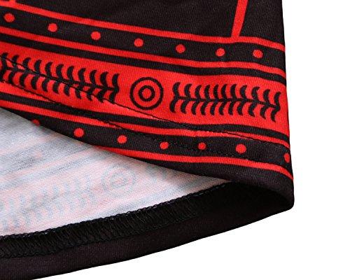 Aleumdr Maglietta Donna Elegante 4 Tunica Lunghe Rosso Camicetta Blusa Shirt Manica Maniche Bottoni Donna T Donna Floreale con 3 rrHFPq