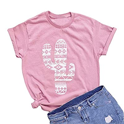 KFulemai Women's Funny Cactus Shirts Short Sleeve Summer Vintage Printed Graphic T-Shirts Tops