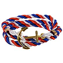 Gold Nautical Anchor Charm Multiplayer Rope Twining Weave Nylon Rope Bracelet