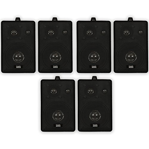 Acoustic Audio 251B Indoor Outdoor 3 Way Speakers 1200 Watt Black 3 Pair Pack 251B-3Pr (Home Theater Watt 1200 System)