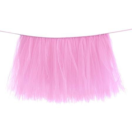 Falda de mesa, falda de mesa de tul rosa para mesas rectangulares ...