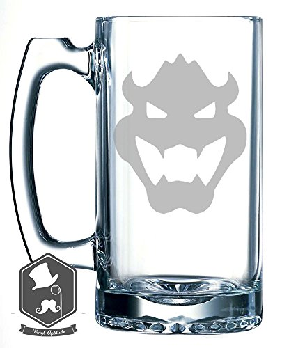 Mario Brothers Bowser Video Game Inspired 25 OZ Hand-made Etched Beer Mug Glass Stein