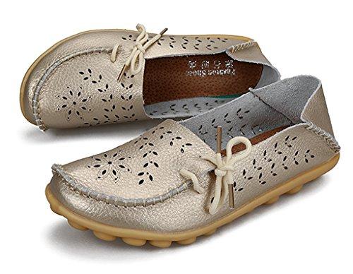 Labato Stil Labatostyle Kvinnors Läder Casual Loafers Körsko Lägenheter Slip-on Toffel Skor Guld-02
