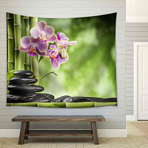 Zen Basalt Stones Orchid and Bamboo Fabric Wall