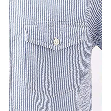 J. Press Seersucker Stripe Short Sleeve Button Down Shirt with Flap Pocket HHOVKM0417: Blue