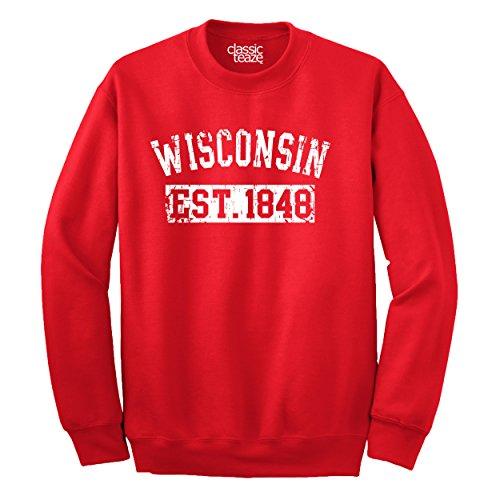 Classic Teaze Wisconsin State Printed Crewneck Sweatshirt