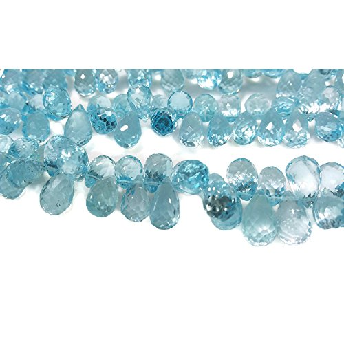 (10 Pieces - Blue Topaz Beads - Faceted Tear Drop Beads - 6x12mm Each,)