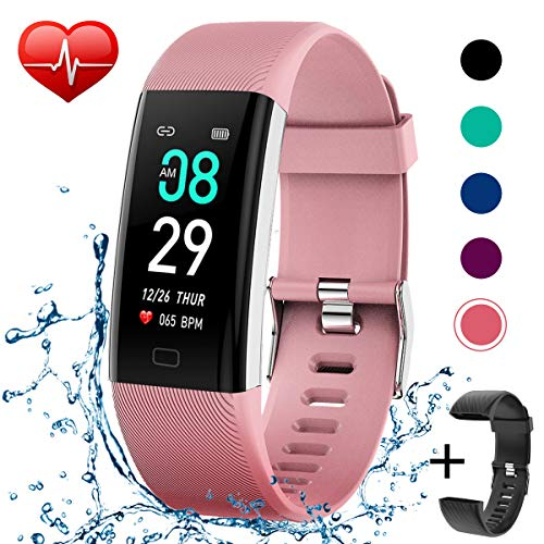 KITPIPI Fitness Tracker Activity Tracker Watch with Heart Rate Monitor, Pedometer Waterproof Smart Watch Sleep Monitor, Step Counter, Calorie Counter, for Kids Women and Men (Pink+Black)