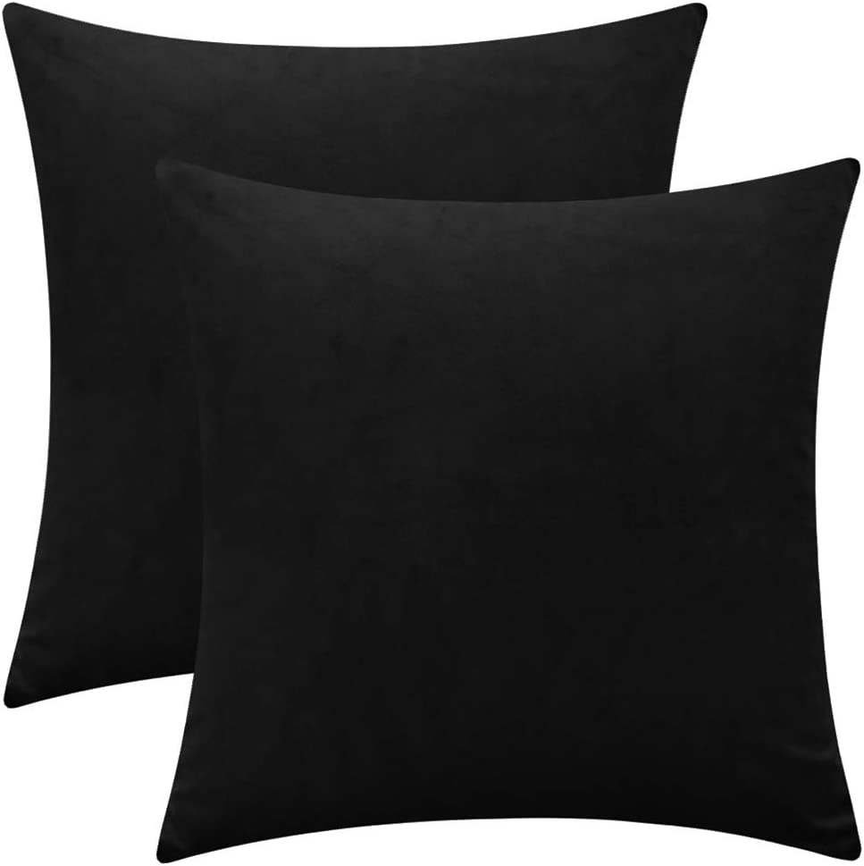 """Rythome Set of 2 Comfortable Velvet Decorative Square Throw Pillow Covers for Sofa Couch and Bed - 16""""x16"""", Black"""