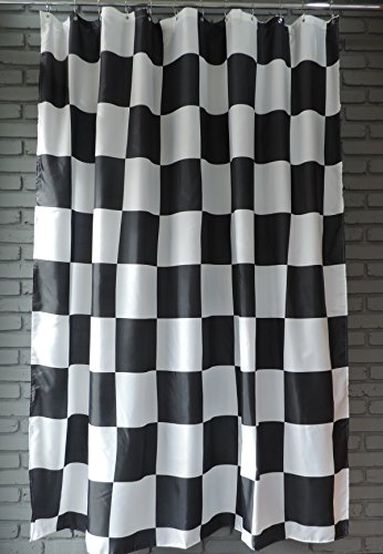 74472daf8a7ff Extra Long Shower Curtain 72 x 78 Inch Gamma Checkered Flag Black ...