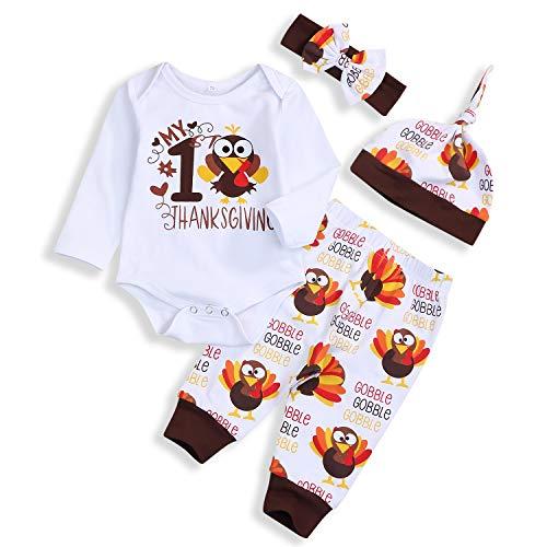 Baby Boy Girl My First Thanksgiving Outfits Turkey Print Romper Long Pants Hat Headband Clothes Set (Turkey, 9-12