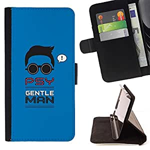 DEVIL CASE - FOR Sony Xperia m55w Z3 Compact Mini - PSY Gentleman - Style PU Leather Case Wallet Flip Stand Flap Closure Cover