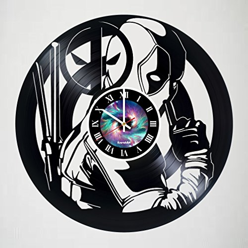 DEADPOOL Vinyl Clock, Wade Ryan Reynolds, Film Vinyl Record Clock, Best Gift For Him, Kovides Vinyl Wall Clock, Home Decor, Comics Marvel DC Movie, Silent Mechanism - LEAVE A FEEDBACK AND WIN A CLOCK!