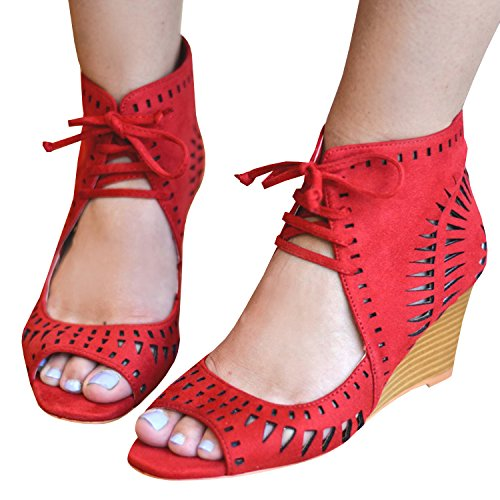 5666c39a0f5 Syktkmx Womens Wedge Sandals Suede Cut Out Peep Toe Stacked Mid Heel Ankle  Wrap Gladiator Bootie Shoes - Buy Online in Oman.