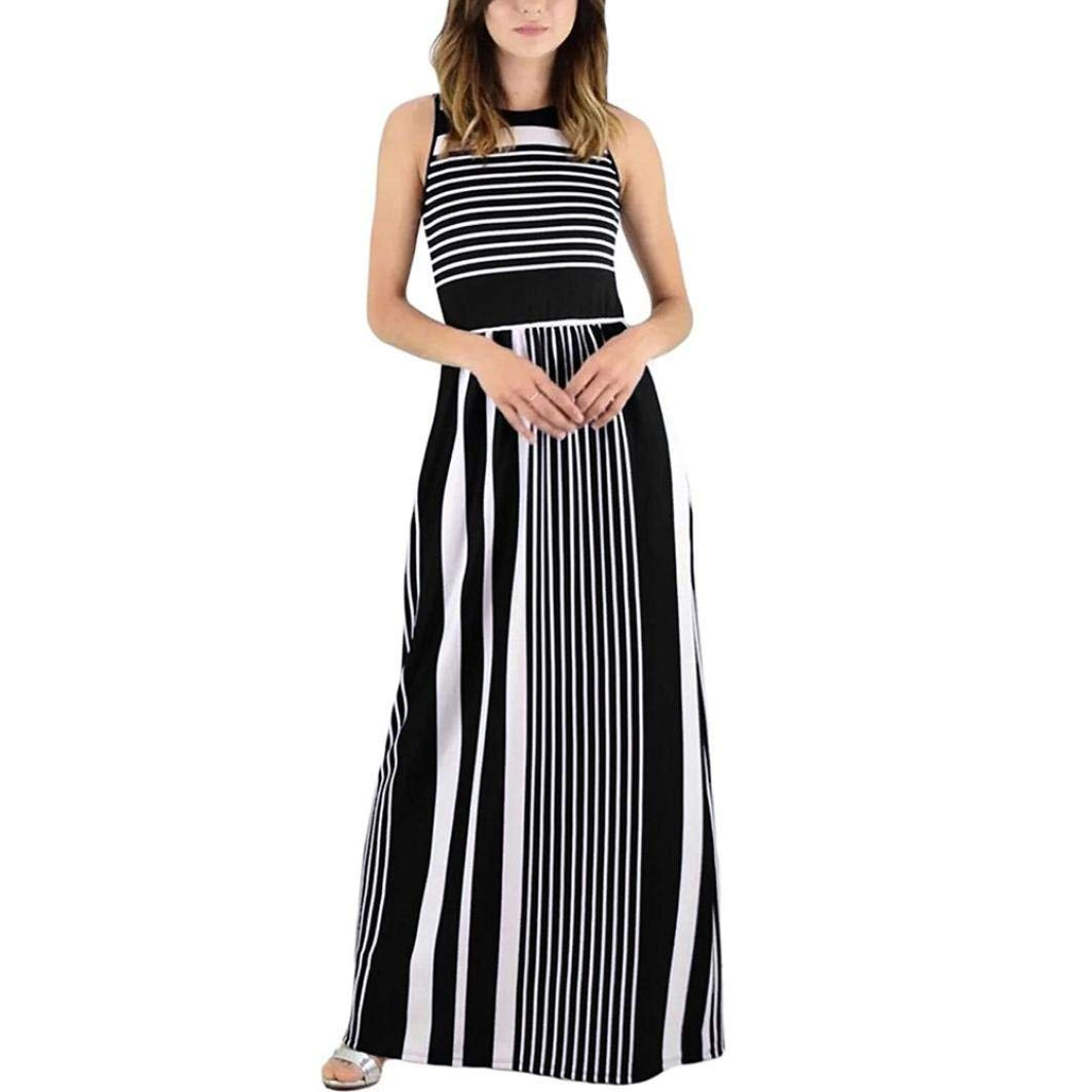 blacker Womens Casual Dress Women's Sleeveless Casual Beach Dress Summer Dress Crewneck Striped Long Maxi Dress With Pockets Dresses Wild Tight for Women (color   red, Size   S)