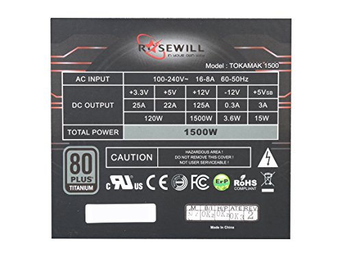 Rosewill TOKAMAK 1500 1500W Continuous @40°C, 80 PLUS TITANIUM Certified, Full-Modular Design, Single +12V Rail, ATX12V v2.3/EPS12V v2.92, SLI & Crossfire Ready, Active-PFC Power Supply by Rosewill (Image #2)