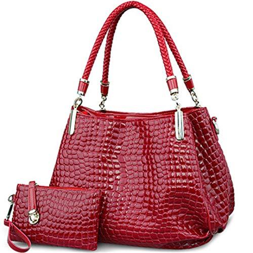 grande capacité main Borse Lady à à Wine Red sac main à Sac Sacs Crocodile Femmes portefeuille bandoulière Totes qUtEwx4