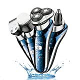 #10: Hatteker Professional Electric Shaver Razor For Men 4 in 1 Beard Trimmer Wet Dry Rotary Shaver Cordless Hair Trimmer Nose Hair Trimmer Facial Cleaning Brush Waterproof USB Rechargeable Best Gift