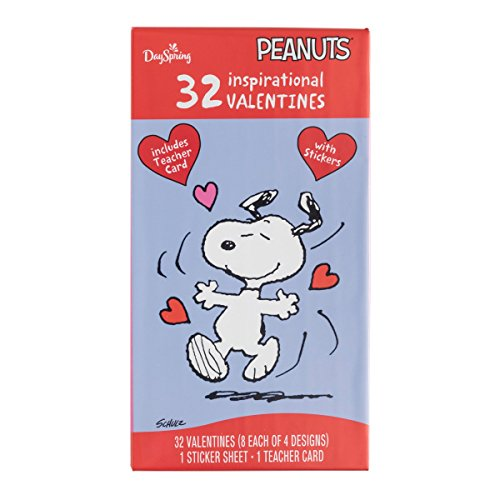 Peanuts - Valentine's Day - Inspirational Boxed Cards - Bonus Stickers