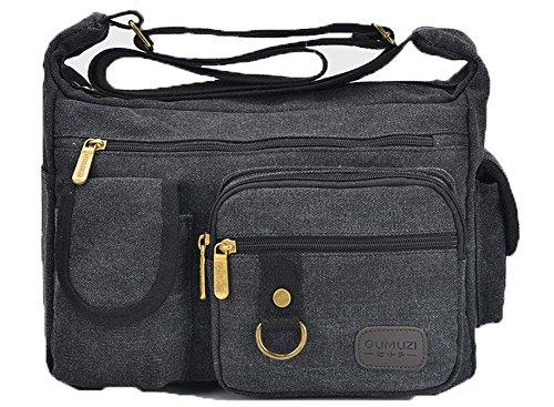 Odomolor Femme Zippers Des sacs Mode Décontractée Toile Sacs à bandoulière,ROFBL180898,Noir Noir